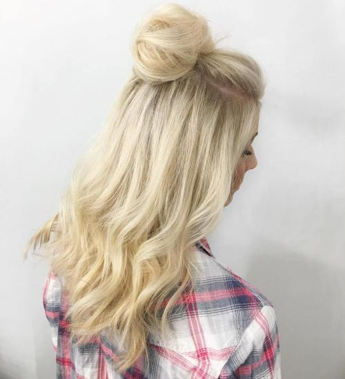 Blonde Half Up Bun