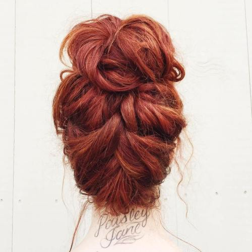 Disheveled Upside Down Braid And Bun