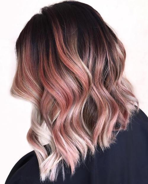 Long Bob With Rose Gold Highlights