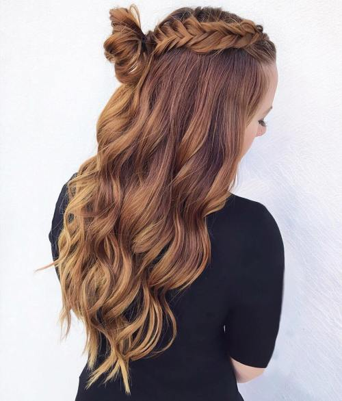 Braid And Half Up Top Knot