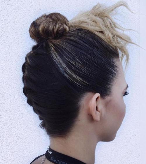 Sleek Upside Down Braid And Bun Updo