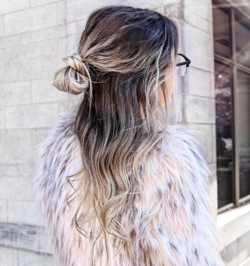 Knot Half Updo For Thin Hair