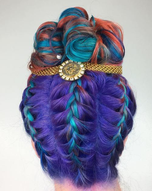 Three Upside Down Braids And Curly Bun