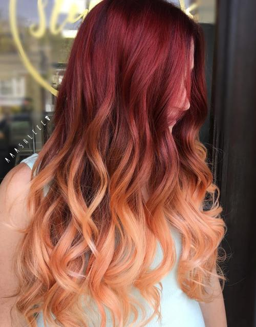 Burgundy Red And Peach Split