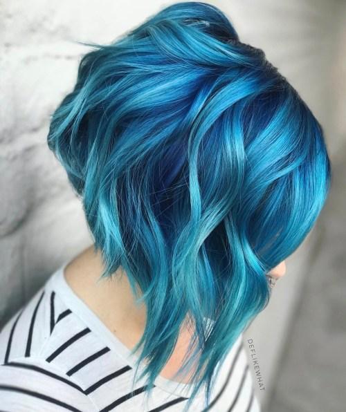 Angled Bright Blue Bob