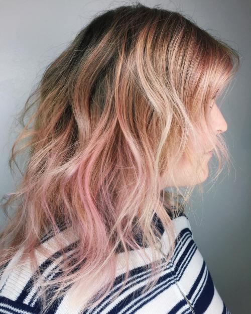 Platinum And Pastel Pink Balayage