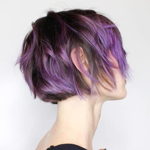 Short Choppy Purple Balayage Style