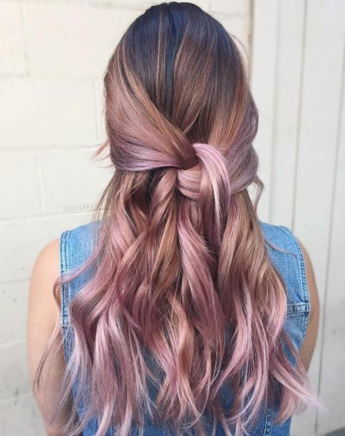 Pink And Caramel Blonde Balayage