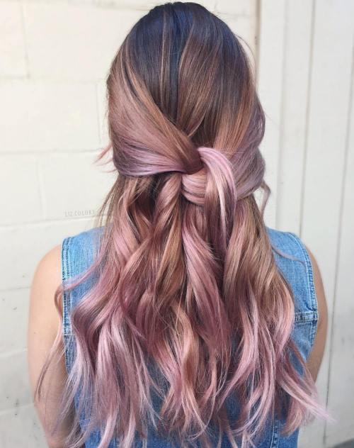 Pink And Caramel Blonde Balayage