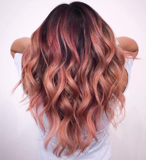 Rose Gold Balayage Hair