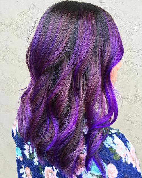 Purple And Electric Blue Balayage