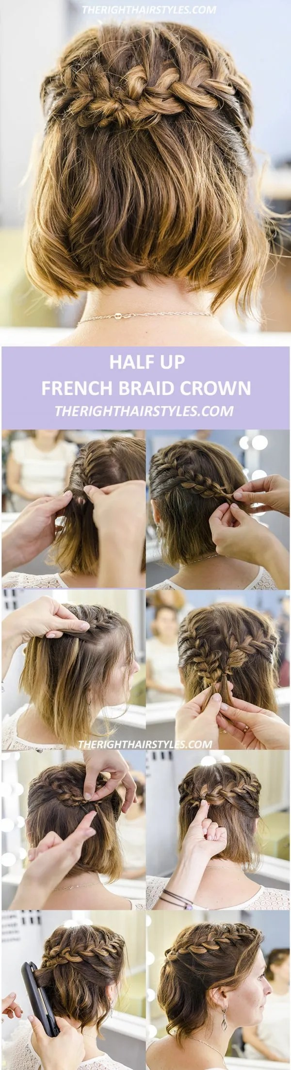 Half Up French Braid Crown For Short Hair