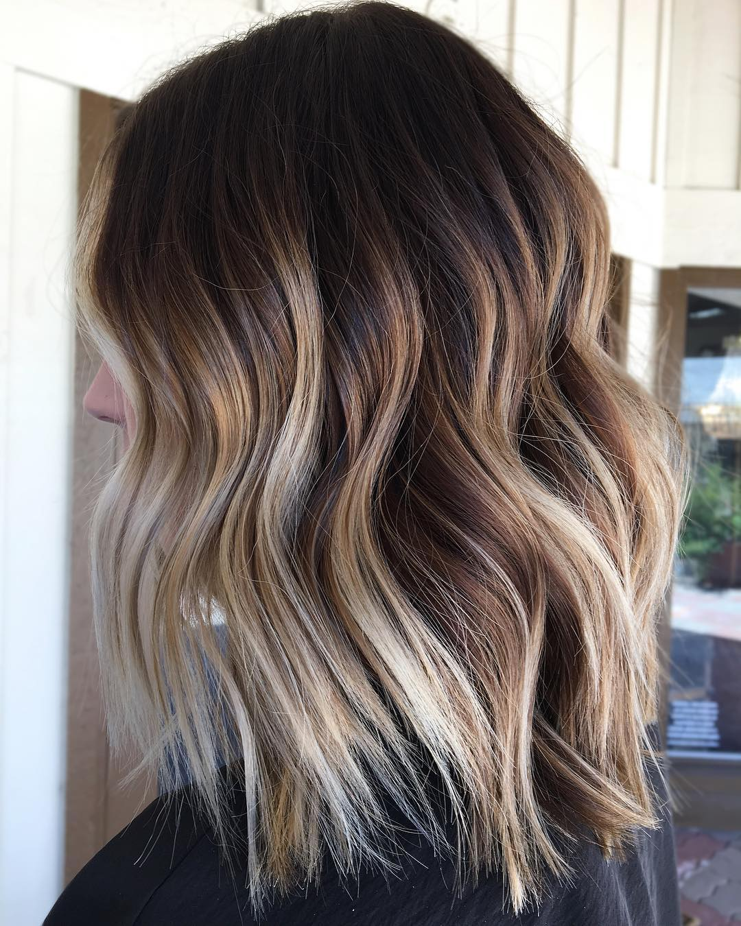 Brown Lob With Blonde Balayage