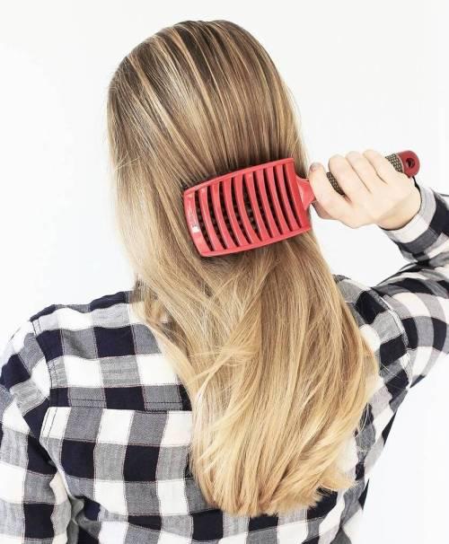 Brushing Blonde Hair