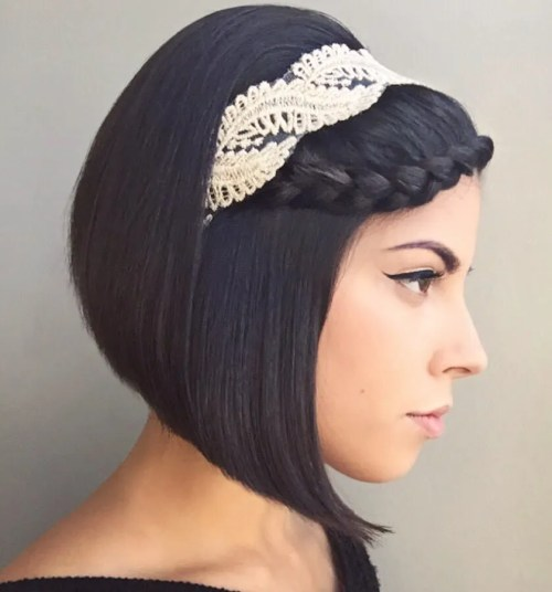 Lace Headband For Angled Bob