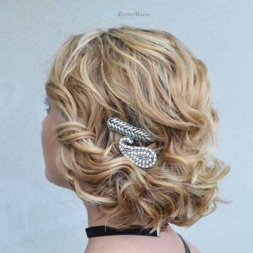 Curly Updo With Embroidered Bobby Pins