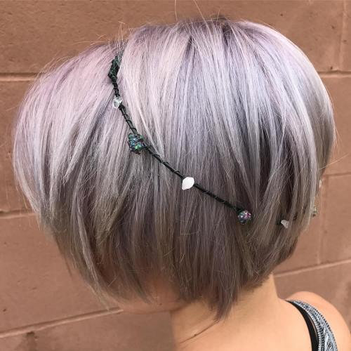 Lavender Bob With Stone And Crystal Headband