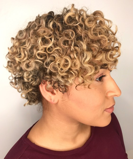 Curly Blonde Pixie With Subtle Highlights