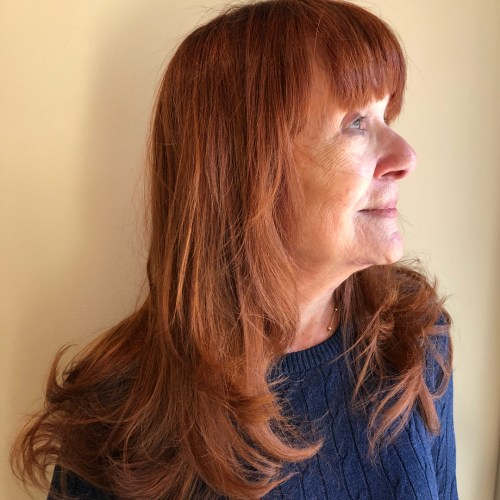 Auburn Layers With Bangs