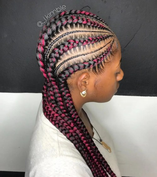 Thick And Thin Cornrows With Pink Streaks