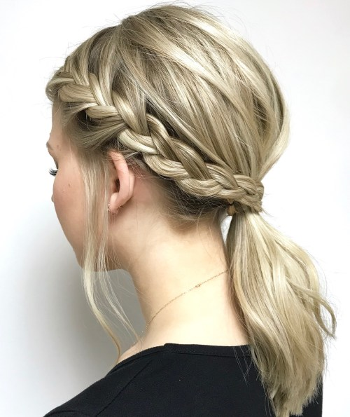 Low Pony With Side Braid