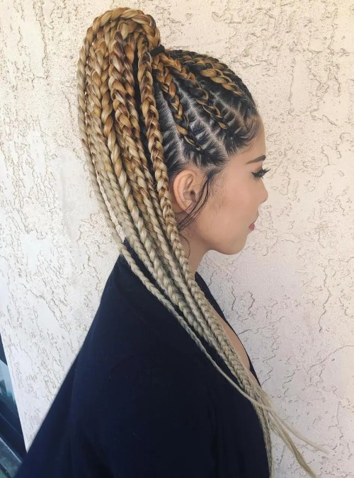 High Blonde Ponytail With Chunky Braids