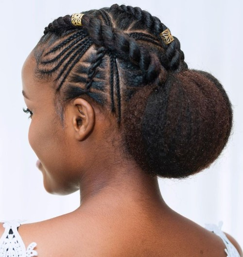 Hairstyle for Black Women with Cornrow Braids and Twists