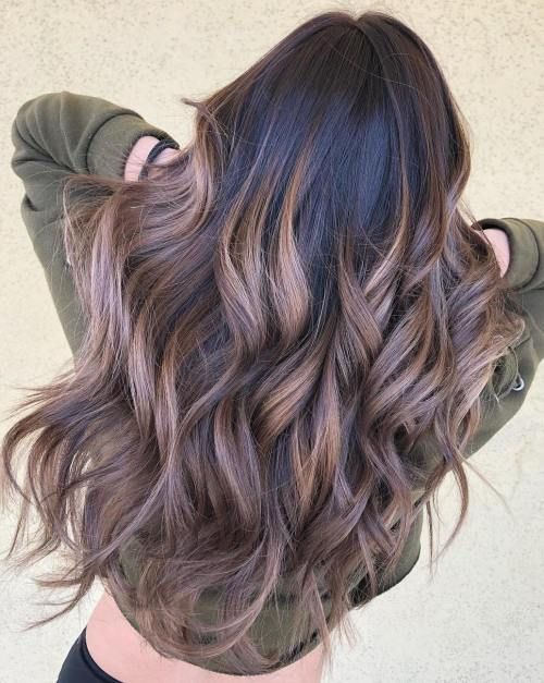 Luscious Balayage With Subtle Purple Tones