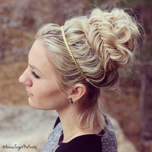 Messy Greek Bun With Fishtail Braids