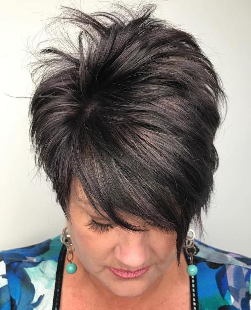 Brunette Tapered Feathered Pixie