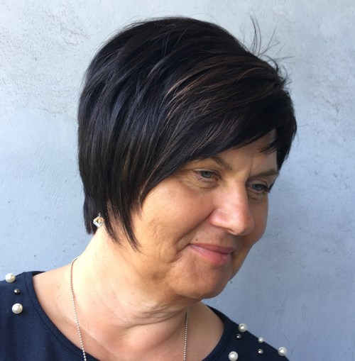 Long Layered Pixie Over 50