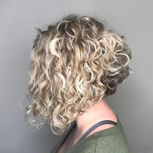 Inverted Blonde Lob For Curly Hair