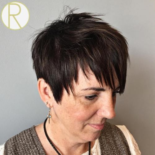 Straight Choppy Brunette Pixie Over 50
