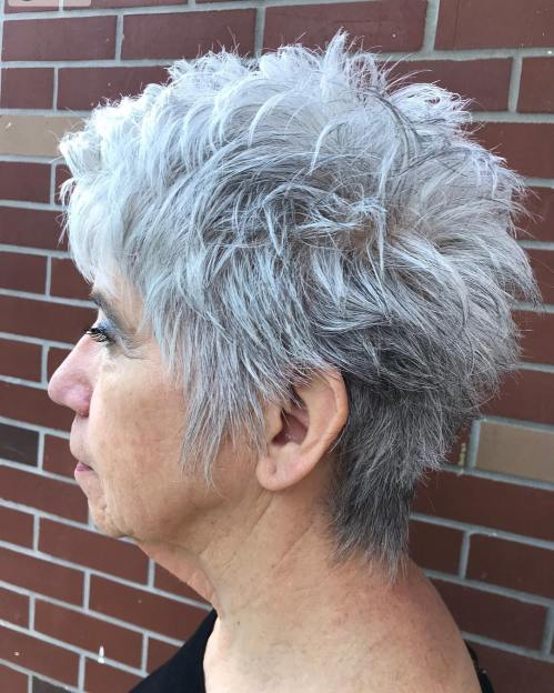 Choppy Gray Pixie for a Woman Over 50 Years Old