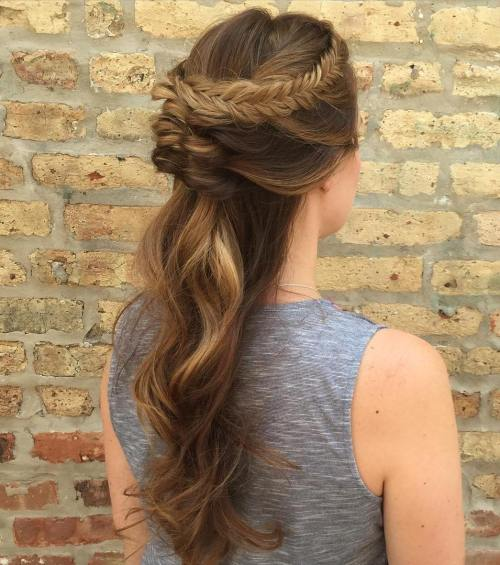 Braided Half-Updo For Long Hair