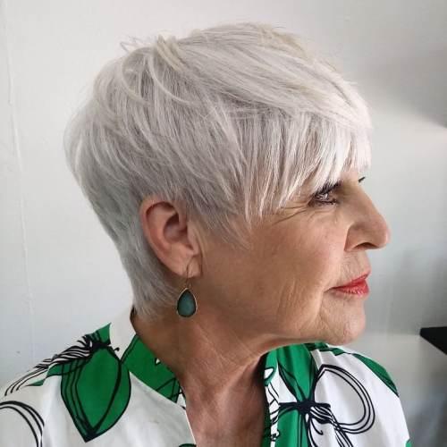 White Sliced Pixie for Women Over 50