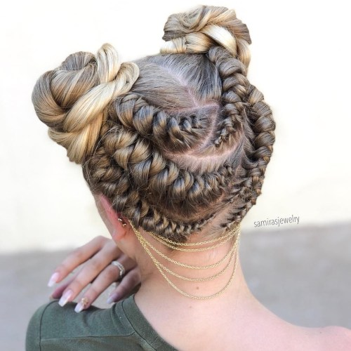 Playful Braided Bun Updo