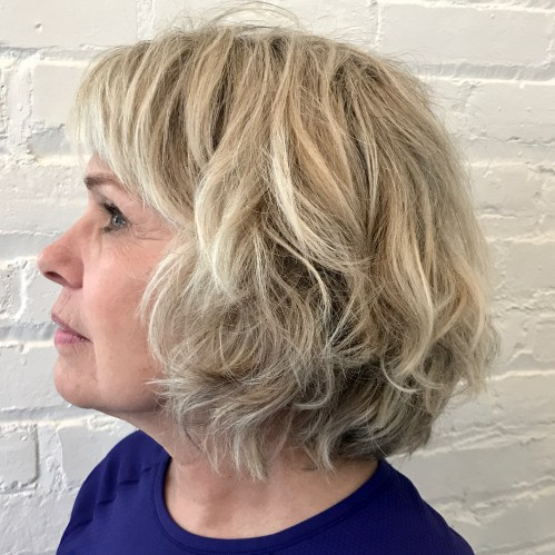 Banged Layered Bob for Wavy Hair