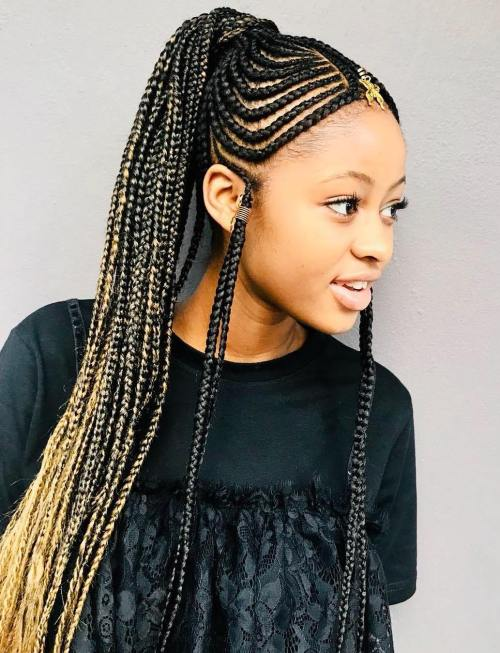 Long Braided Ponytail with Fulani Braids