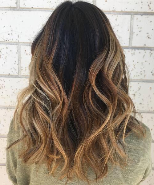 Black Hair with Caramel Blonde Highlights
