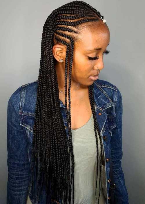Fulani Braids with Double Reverse Temple Braids