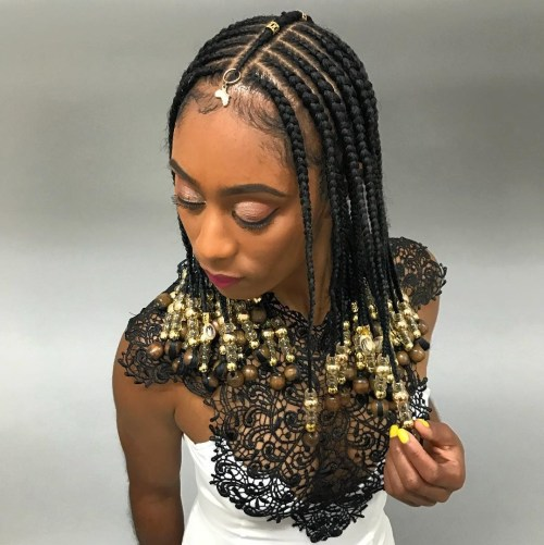Simple Shoulder-Length Fulani Braids