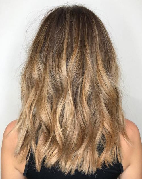 2f1d7eaf9a ... Honey Blonde Balayage on Light Brown Hair. Dark Warm Bronde Balayage  Hair