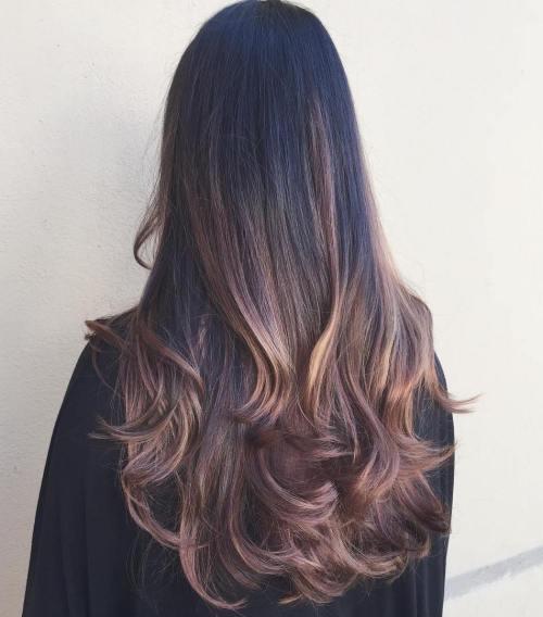 Extra Long Black Hair with Brown Balayage