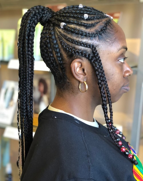 Fulani Braids with Crown Ponytail