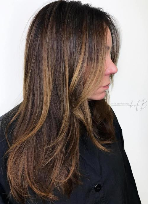 Chunky Honey Highlights for Dark Hair
