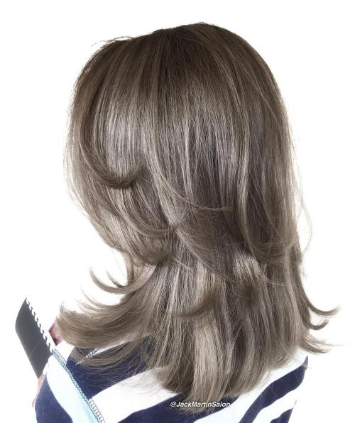 Shoulder-Length Brunette Two-Layer Hairstyle