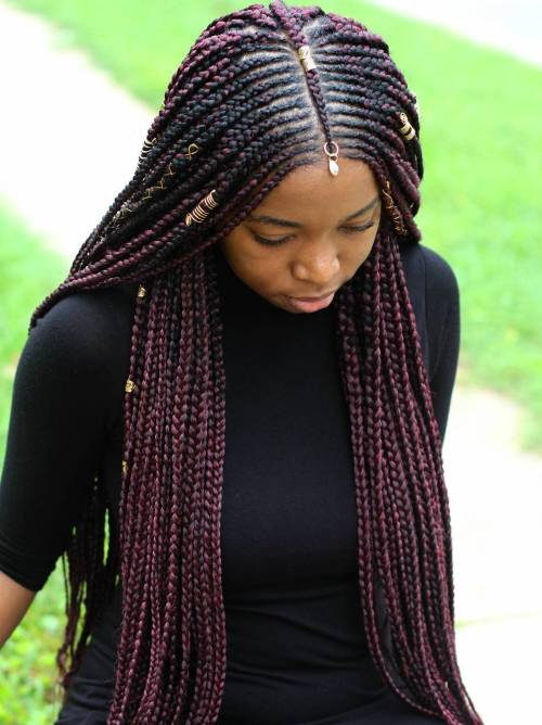 Centre-Parted Long Fulani Braids
