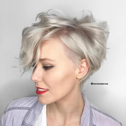 Messy Silver Pixie for Fine Hair