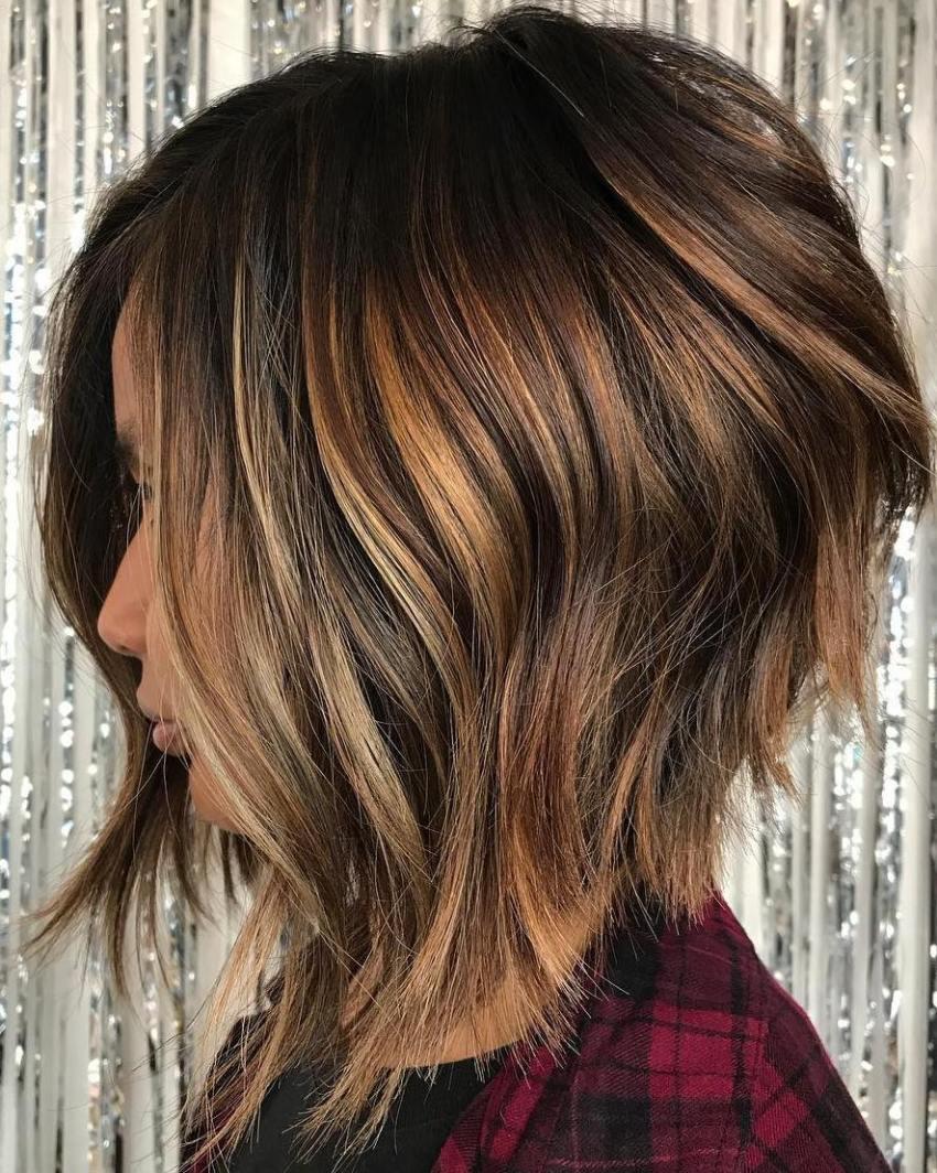 Caramel Balayage On Short Brown Hair